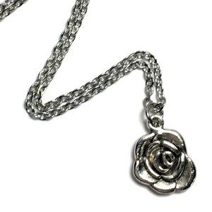 Rose Flower Charm Necklace Tibetan Silver 4for$20